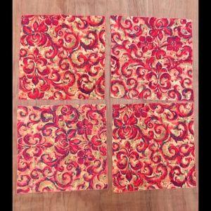 Vintage Fleur red green cloth napkins